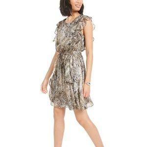 Bar III Ruffled Snake-Embossed Mini Dress